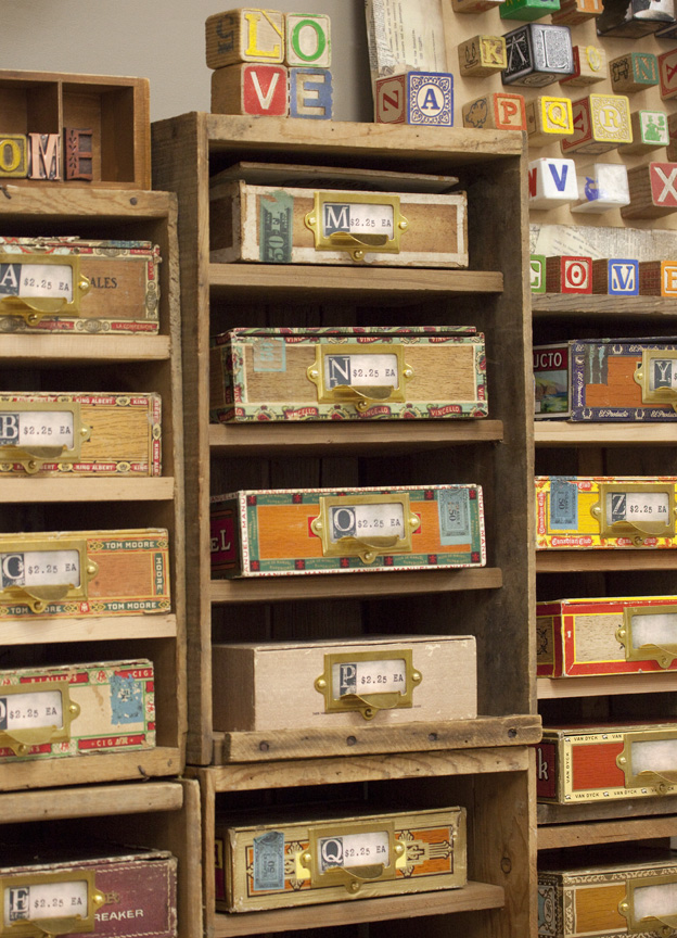 Wooden Toy Blocks in Cigar Boxes
