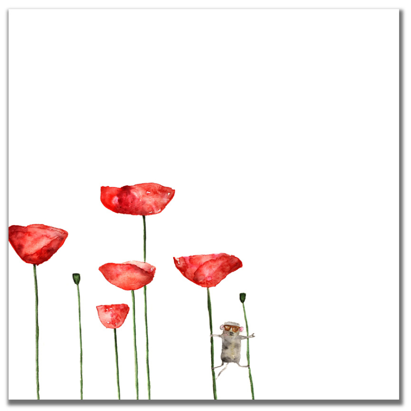 Watercolor Mouse & Poppies
