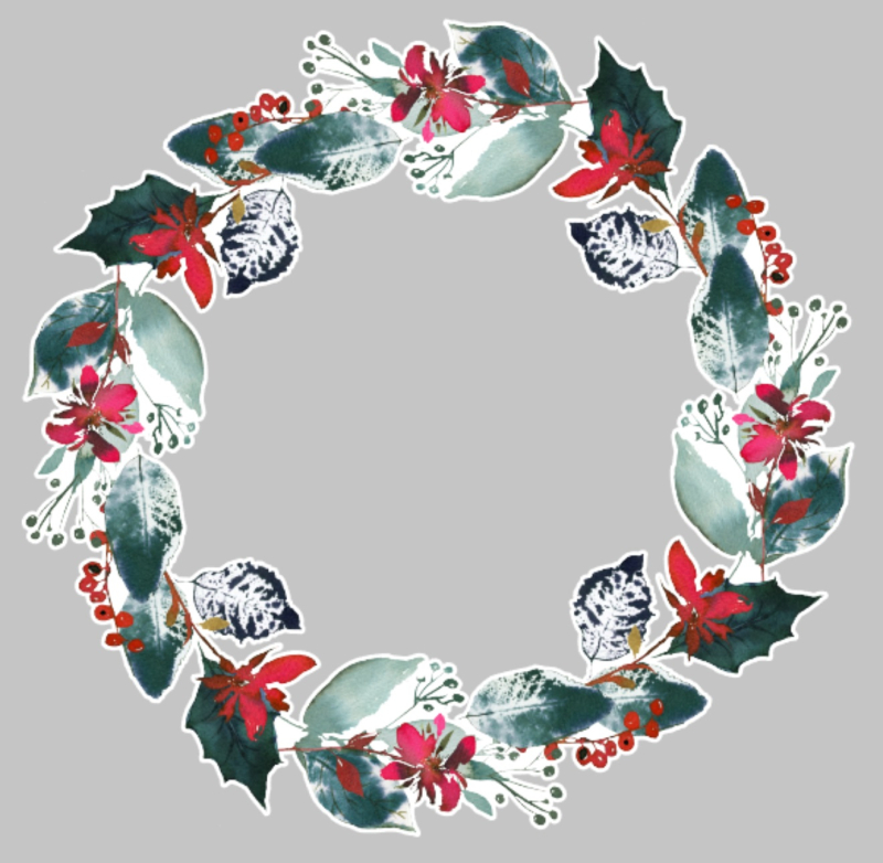 Christmas watercolor wreath